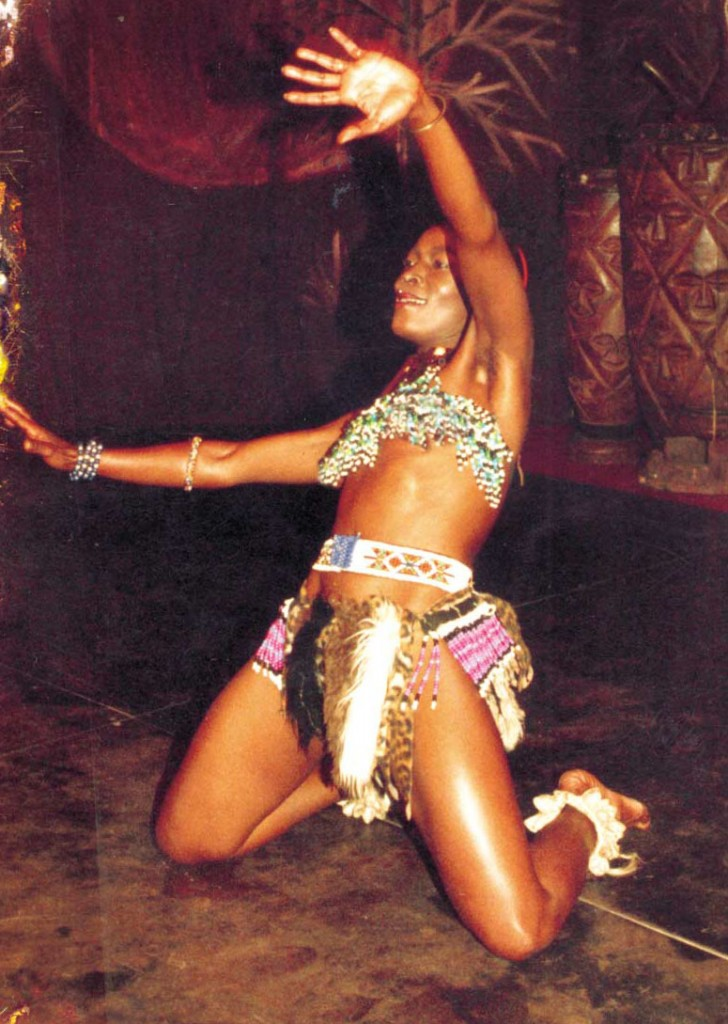 Africa Umoja's Thembi on stage in Pals of Africa.