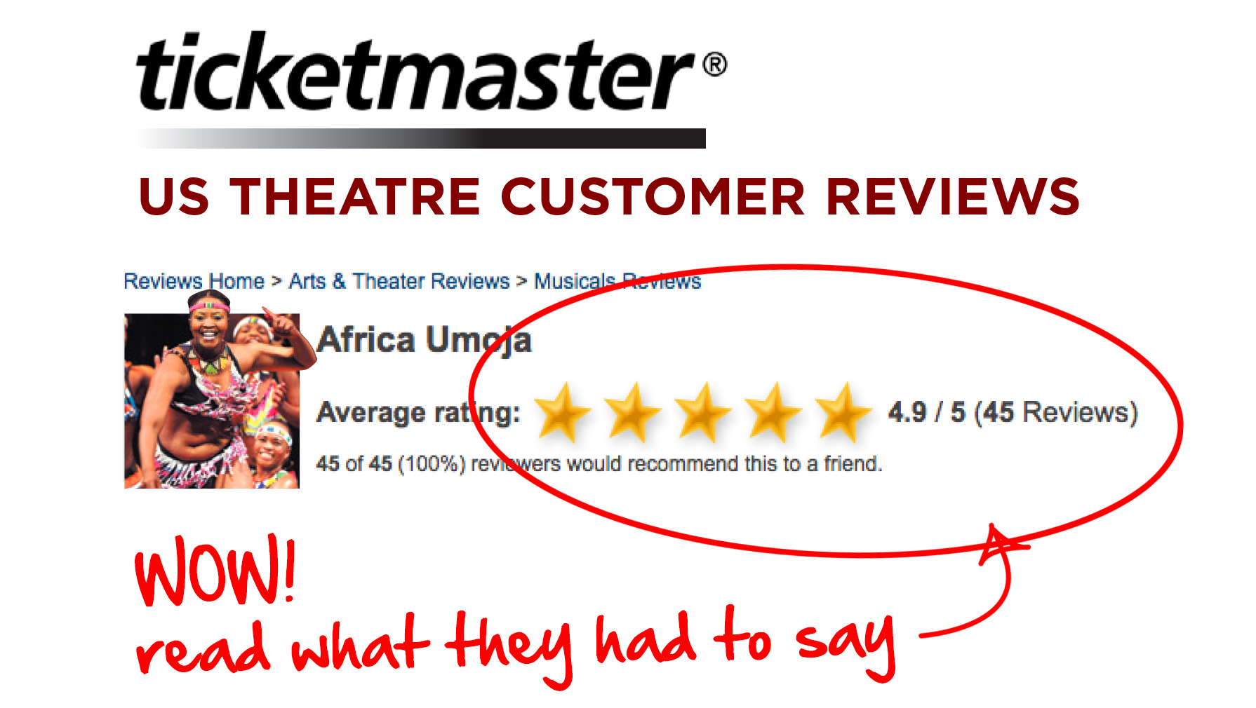 Ticketmaster.com theater customer reviews award AFRICA UMOJA 4.9/5 starts